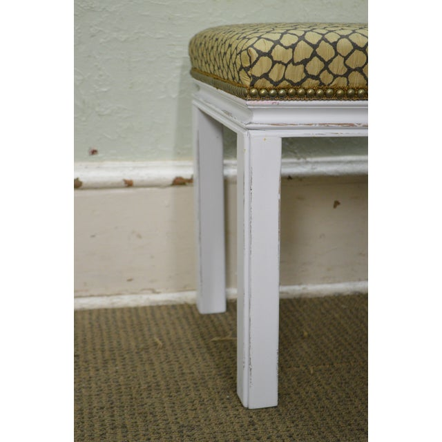Mid Century Pair of Custom Painted Square Stools Benches - Image 4 of 11