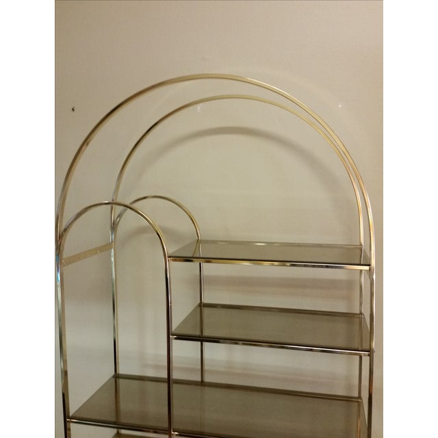 Hollywood Regency Double Waterfall Brass Etagere - Image 6 of 10