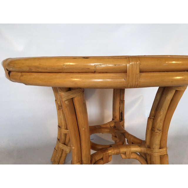 Vintage Palm Beach Cane and Rattan Round Side Table - Image 5 of 7