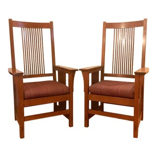 Stickley Mission Oak Armchairs - A Pair