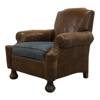 Saddle Leather and Denim Club Chair