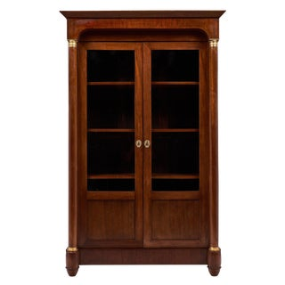 Antique French Empire Style Walnut Bookcase