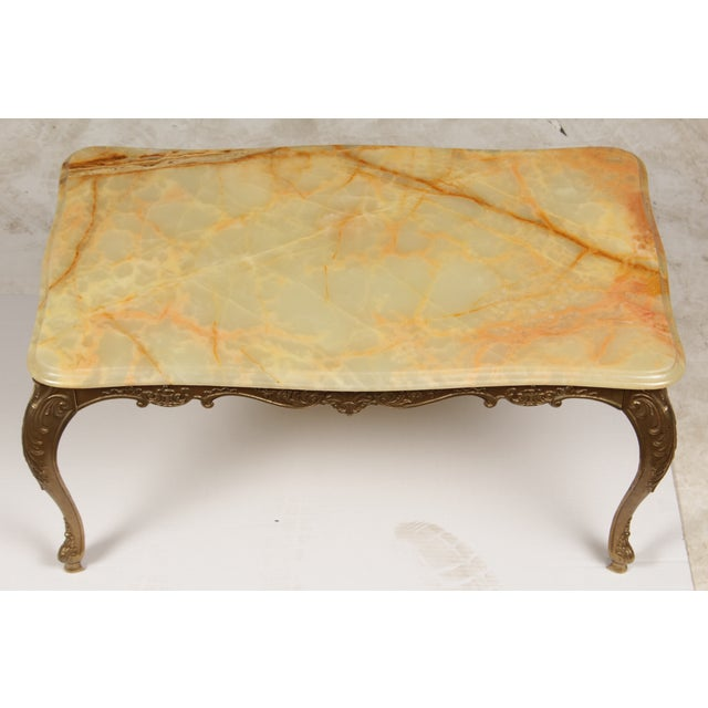 baroque brass onyx coffee table chairish. Black Bedroom Furniture Sets. Home Design Ideas
