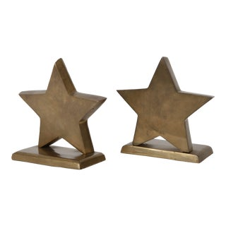 Brass Star Bookends - Pair