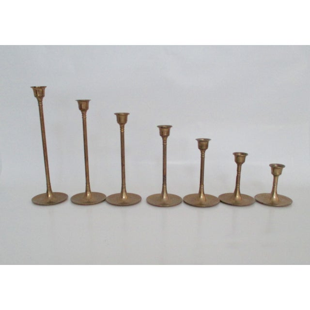 Image of Tulip Fluted Brass Candlestick - Set of 7