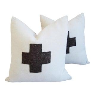 Custom White & Brown Swiss Cross Wool Pillows - A Pair