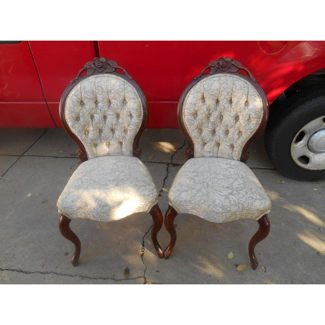 Image of French Louis XV Style Hand Carved Dining / Fireside Chairs - Pair