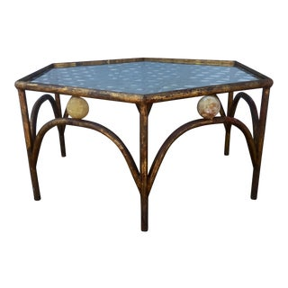Gold Gilded Iron & Onyx Coffee Table