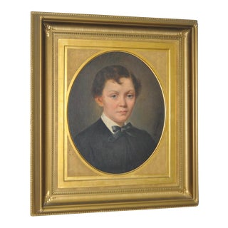 Antique Young Boy Oil on Panel Portrait Painting, Circa 1880s