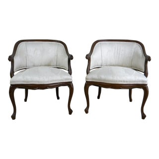 Vintage Off -White Club Chairs - A Pair