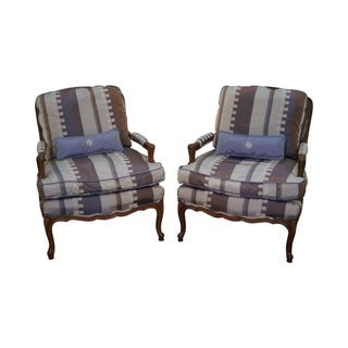 French Louis XV Custom Upholstered Fauteuil Chairs - A Pair