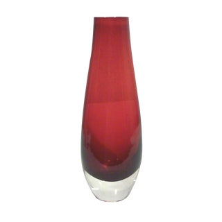 Mid-Century Red Tapered Glass Vase