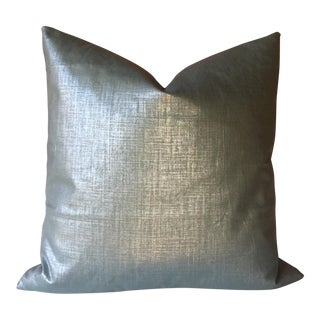 Robert Allen Metallic Teal Linen Pillow Cover