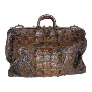 Antique Cuban Crocodile Doctor's Bag