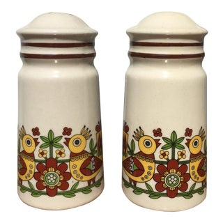 Scandinavian Bird Pattern Salt & Pepper Shakers - A Pair