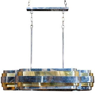 Mid-Century Brass and Chrome Light Fixture