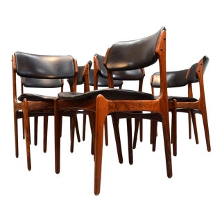 Erik Buck Dining Chairs in Leather & Rosewood - Set of 8