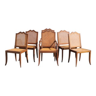 Mid-Century Modern Carved Walnut/ Caned Dining Chairs - Set of 6