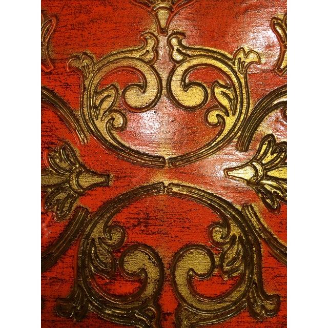 Vintage Florentine Craved Gold Leaf Orange Tray - Image 3 of 7