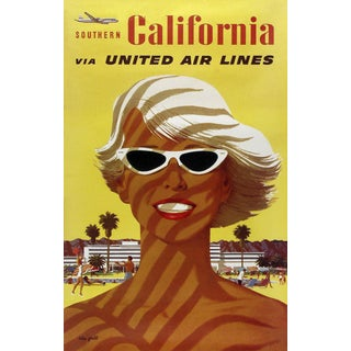 Matted & Framed United Airlines Travel Poster