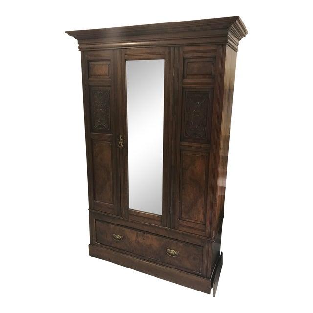 Antique Mirrored Door Armoire - Image 1 of 7