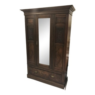 Antique Mirrored Door Armoire
