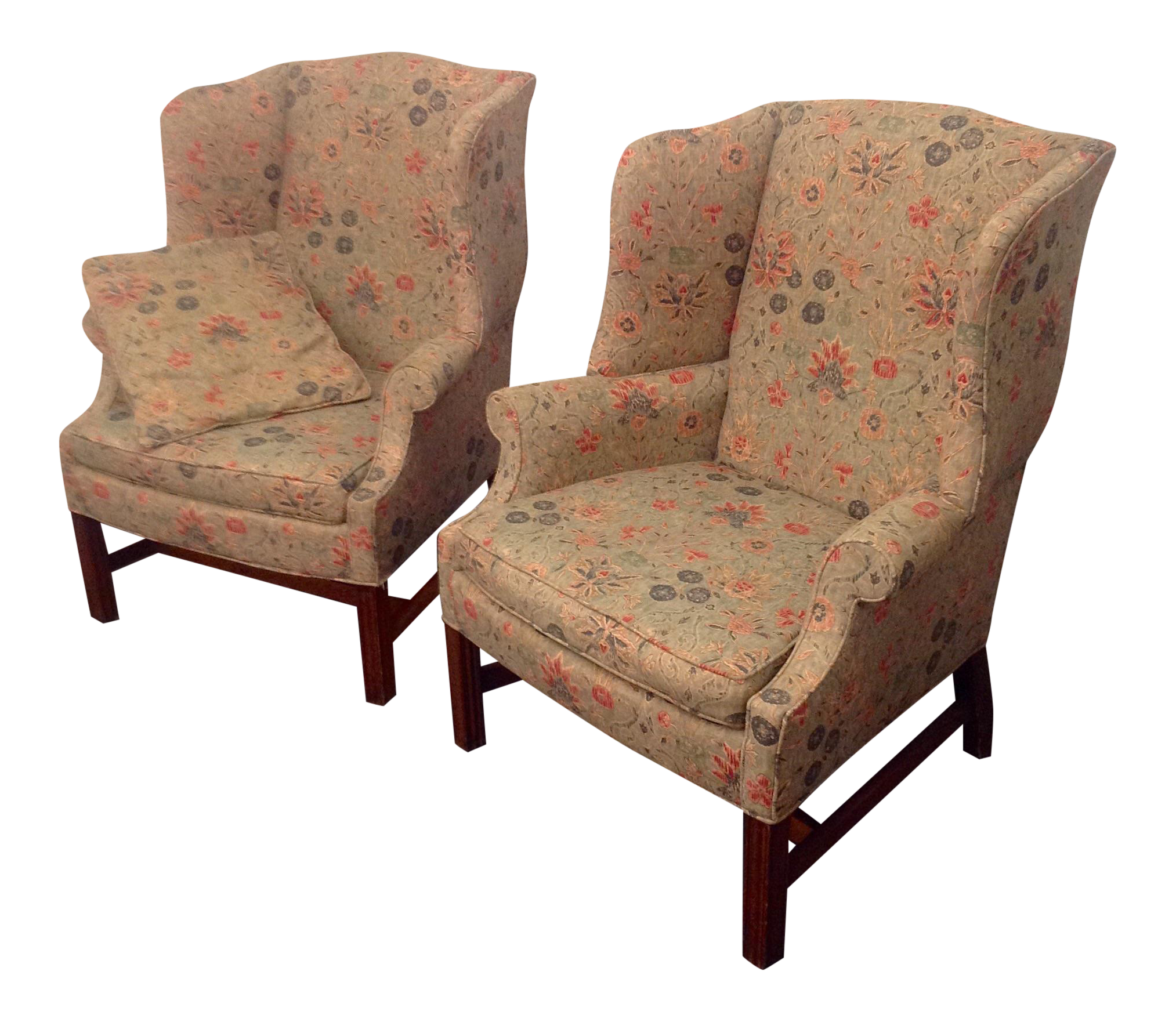hepplewhite wing chairs with ralph lauren fabric a pair