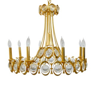 8 Light Modernist Gilded Brass Palwa Chandelier