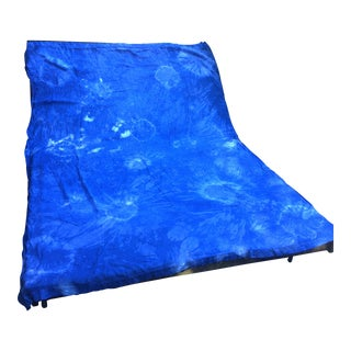 Hand Dyed Indigo Shibori French Linen Sheet
