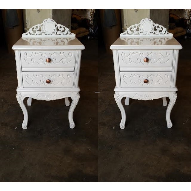 French Carved White Gloss Night Stands - A Pair - Image 2 of 6