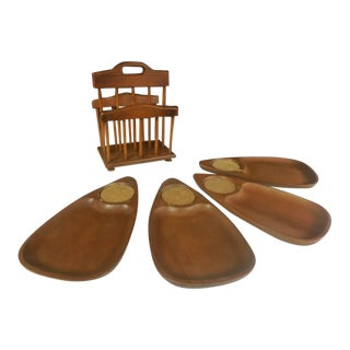 Mid-Century Modern Wood Snack Set - Set of 5