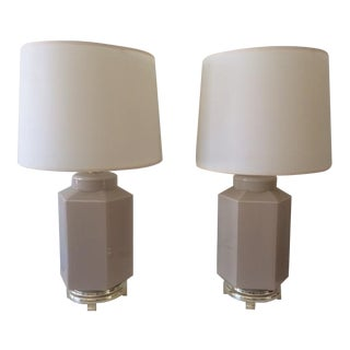 Vintage Octagonal Murano Glass Taupe Table Lamps - A Pair