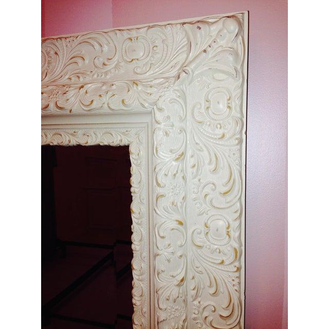 Image of Antique White Wood Mirror