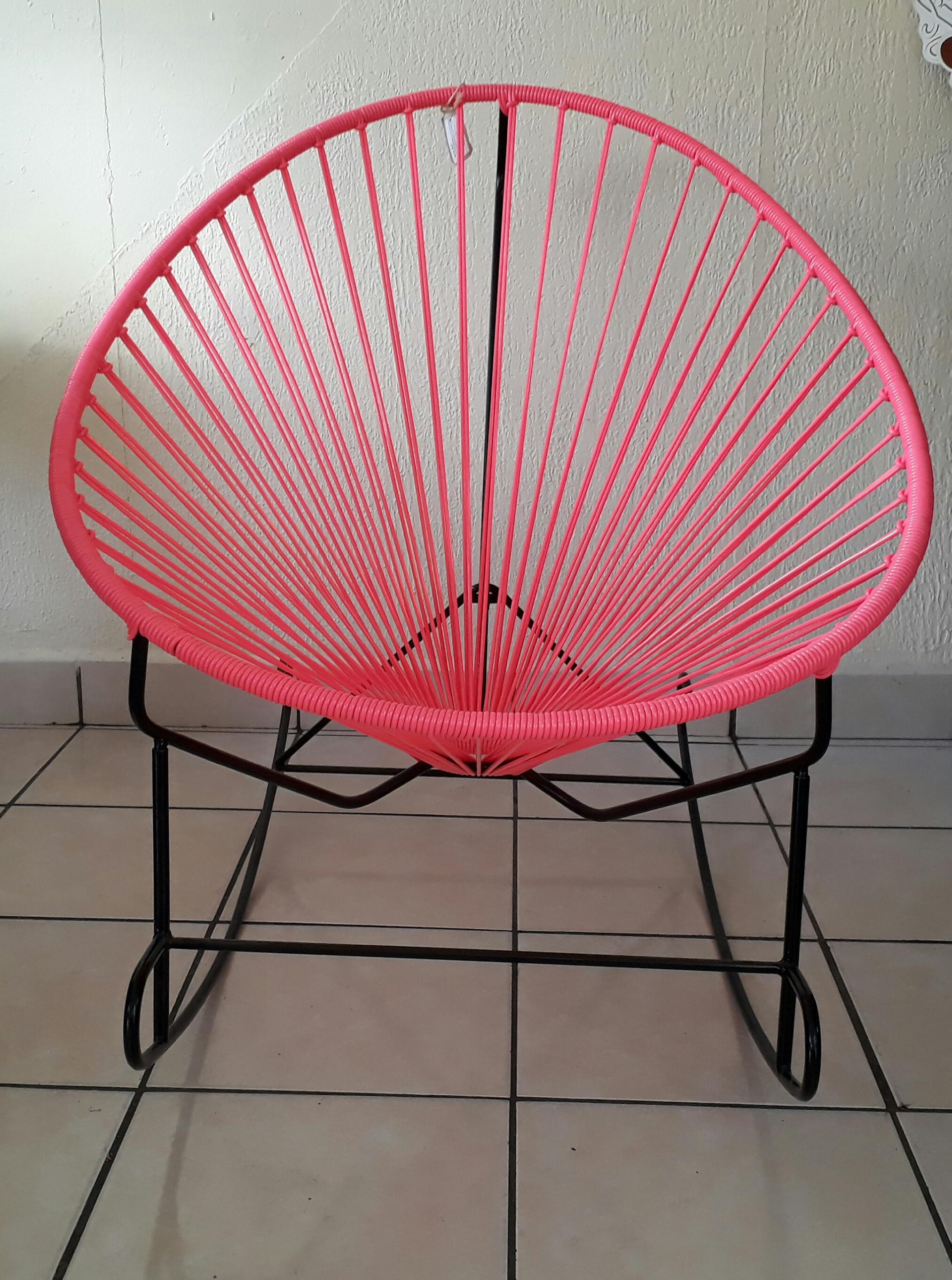 Pink Woven Acapulco Rocking Chair   Image 3 Of 3