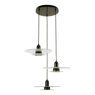 Art Deco Revival Etched Glass and Black Enamel Three-Light Pendant