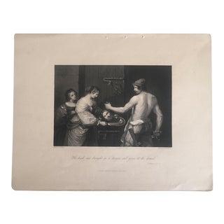 "Antique 1840 Guernino's "" St. Matthieu XIV - Il "" Fisher & Son London Original Engraving Print"