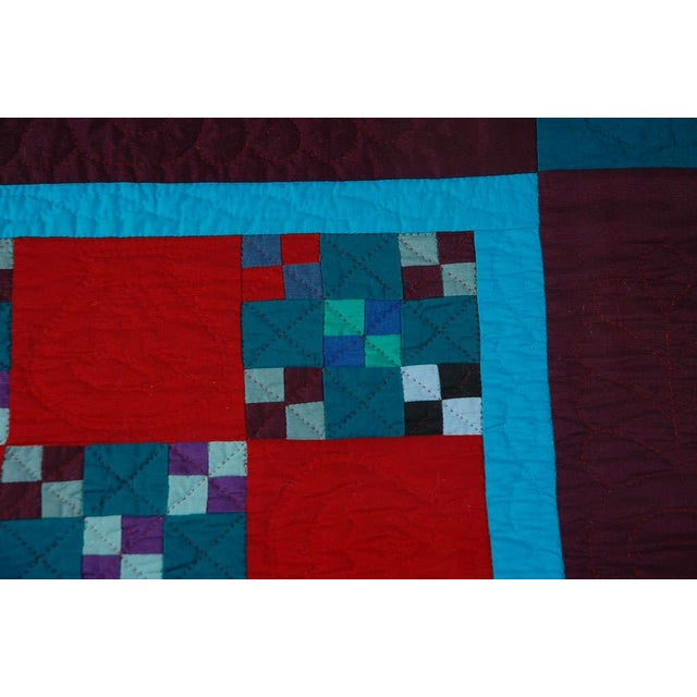 Rare 1940s Lancaster, Pa. Amish Postage Stamp Chain Doll Quilt - Image 8 of 8