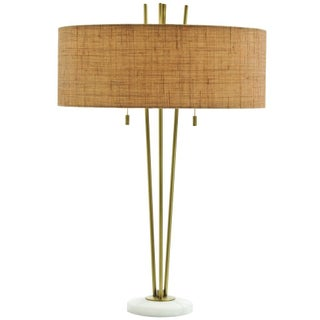 Tripod Brass Table Lamp with Marble Base