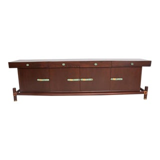 Mexican Modernist Mahogany Credenza by Frank Kyle with Pepe Mendoza Pulls