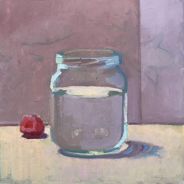Image of Jar and Raspberry Original Oil Painting