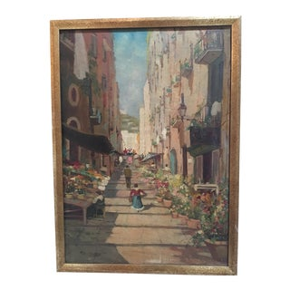 Vintage Mid-Century European Village Street Scene