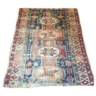 "Antique Persian Kazak Rug - 3'5"" x 4'3"""