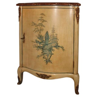 Louis XV Style Corner Cabinet with a Painted Finish and Marble Top