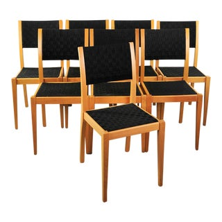 Mid-Century Italian Woven Seat Dining Chairs - Set of 8