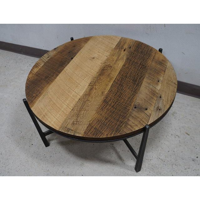Reclaimed Wood Industrial Round Coffee Table: Modern Reclaimed Barnwood Round Industrial Iron Base