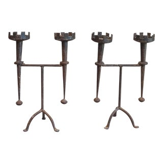 Pair of Renaissance Style Iron Candleholders (#51-41)