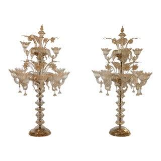 Hand-Blown Murano Glass Candelabras - A Pair