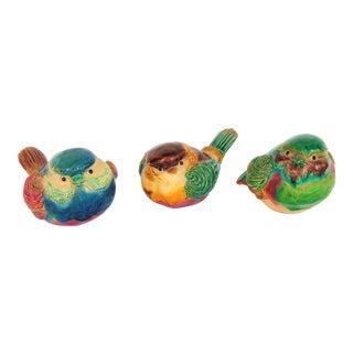 Majolica Pottery Birds- Set of 3