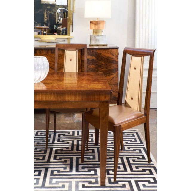 French Art Deco Solid Walnut Dining Chairs- Set of 6 - Image 6 of 11