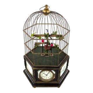 Antique Animated Bird Cage Music Box With Clock